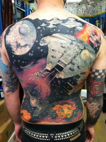 full back outer space tattoo idea