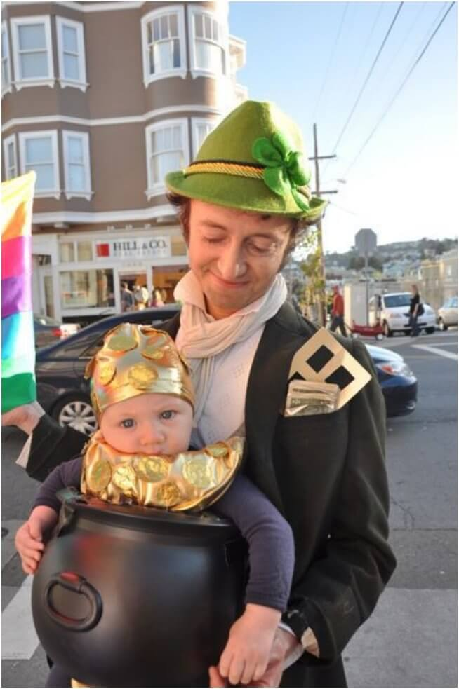 leprechaun's pot of gold baby carrier halloween costume idea