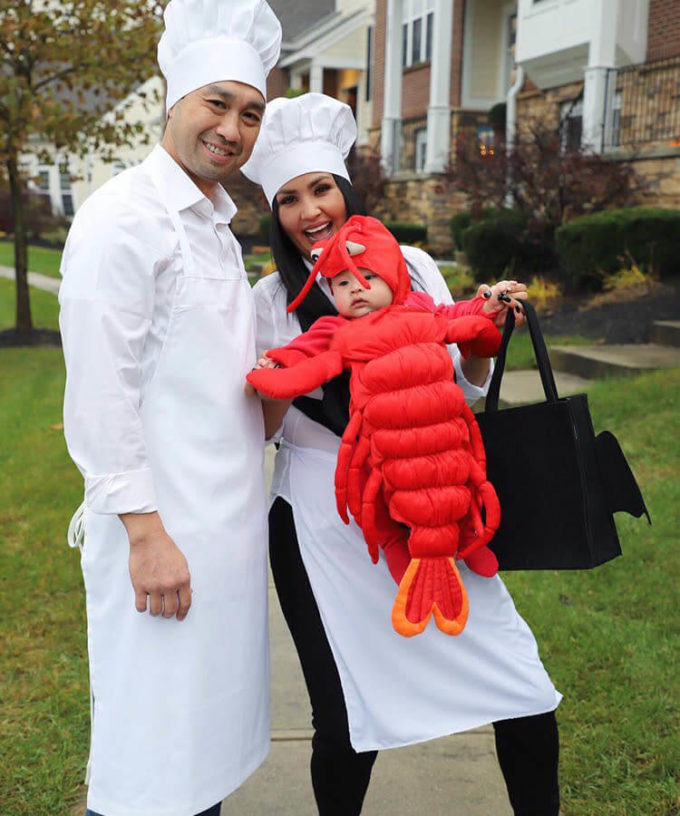 lobster baby carrying halloween costume idea