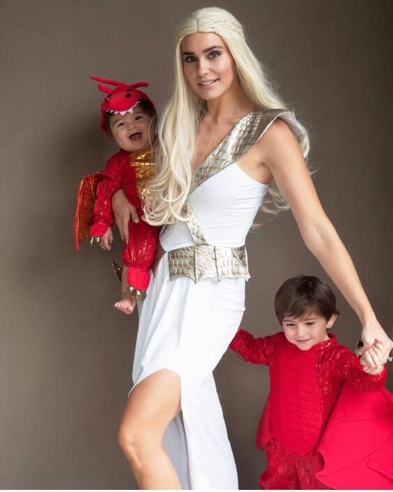 mother of dragons baby carrying halloween costume idea
