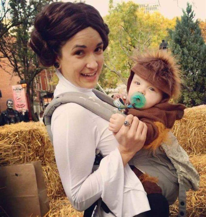 princess leia chewbacca baby carrier halloween costume idea