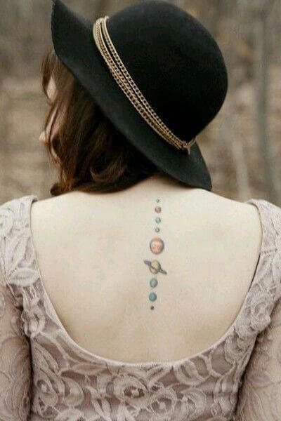 small solar planets tattoo on spine for women
