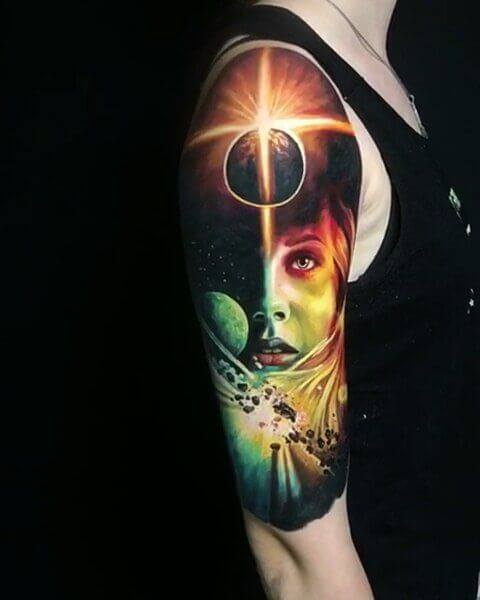 space girl astronomy tattoo idea on sleeve