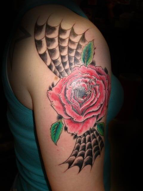 spider web and rose tattoo design on shoulder for females