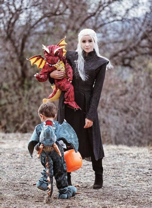 GOT the khaleesi mother of dragons family halloween costumes ideas