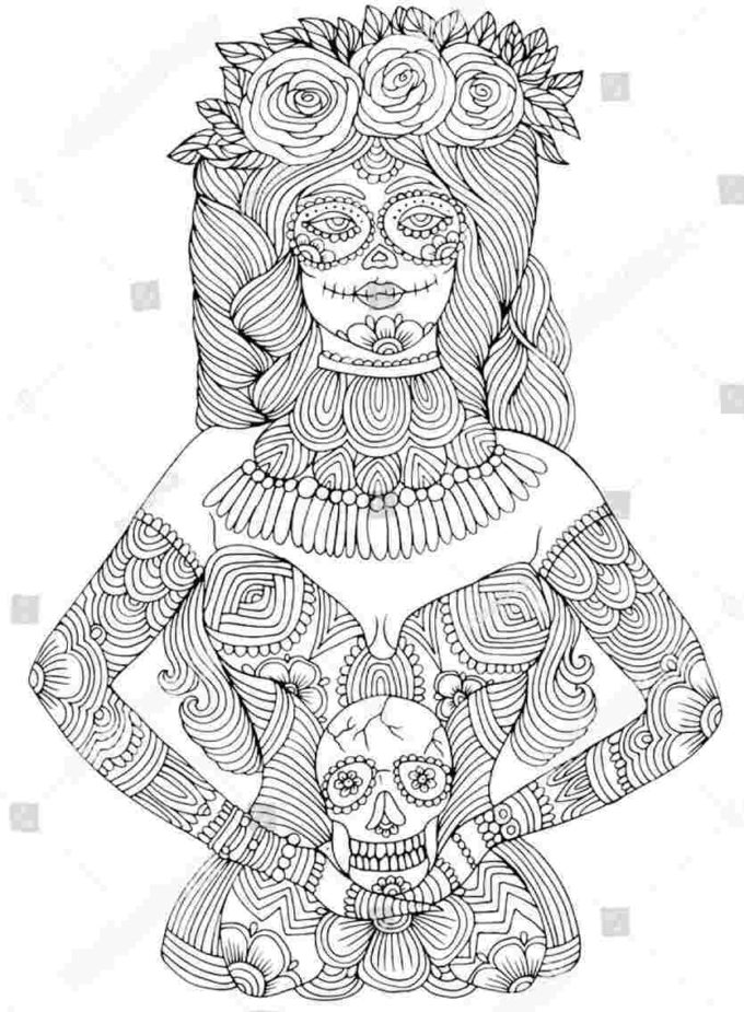 calavera day of the dead coloring picture