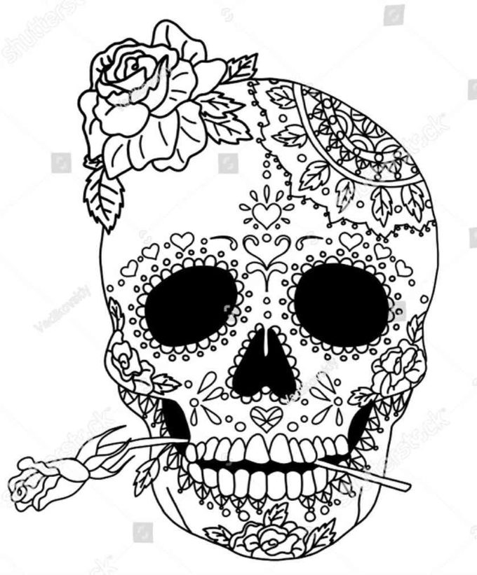 day of the dead skull coloring picture