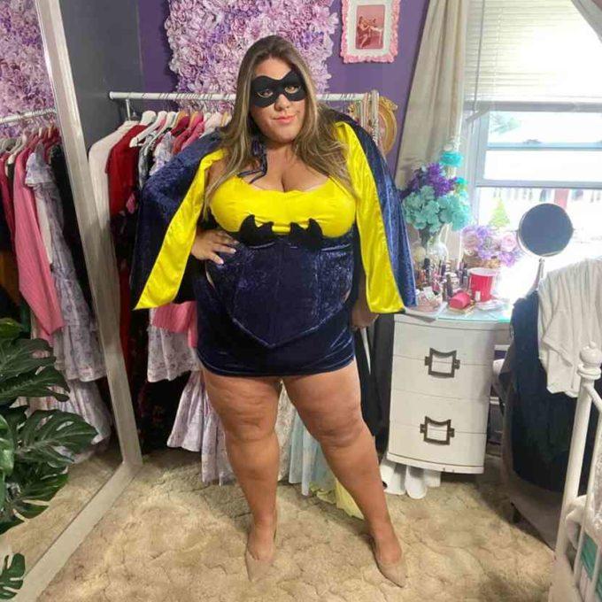 homemade bat girl plus size halloween costume idea