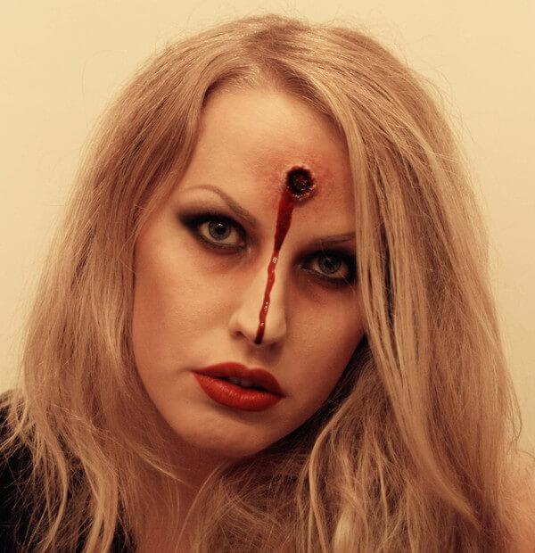 diy bullet hole on head makeup idea for halloween