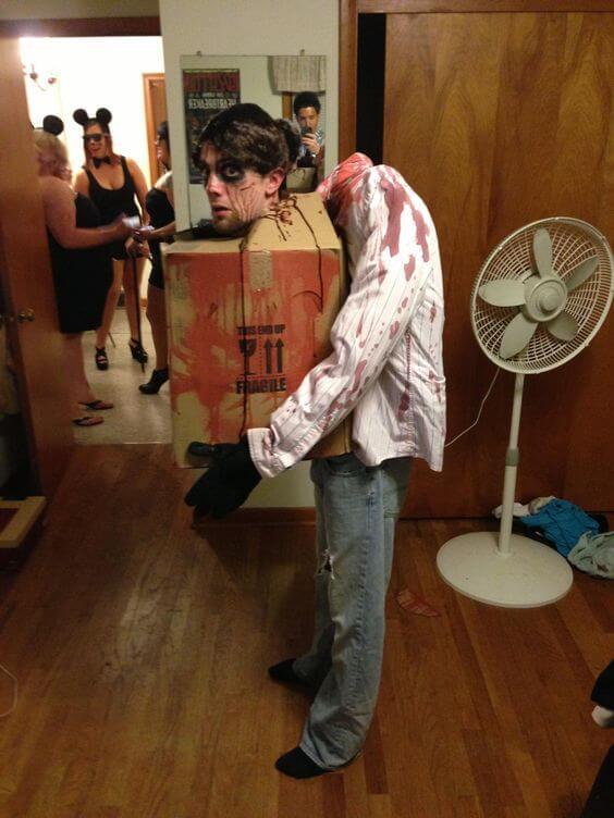 diy creepy head in a box halloween costume idea