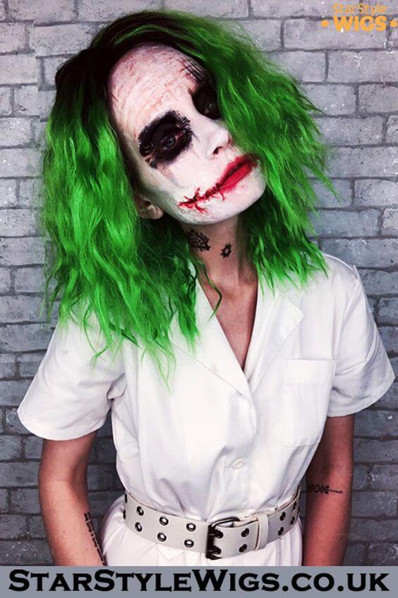 diy creepy joker female halloween makeup idea