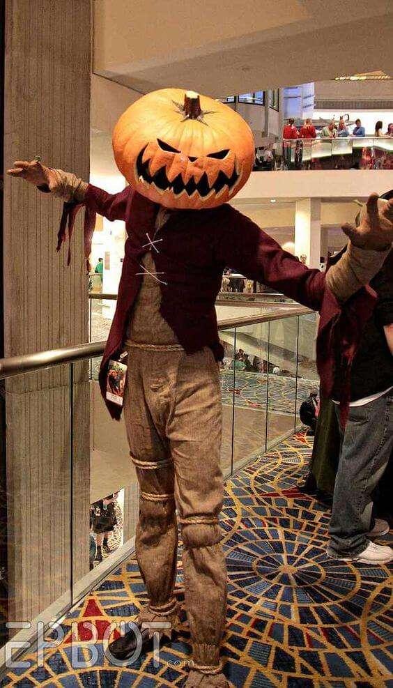 diy scary pumpkin head halloween costume idea