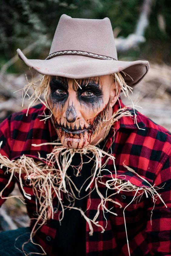 diy scary pumpkin scarecrow halloween costume idea