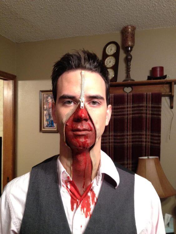 diy scary zipper face makeup halloween costume idea