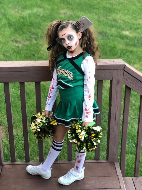 diy scary zombie cheerleader girl halloween costume idea