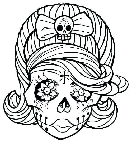 female skull halloween coloring picture