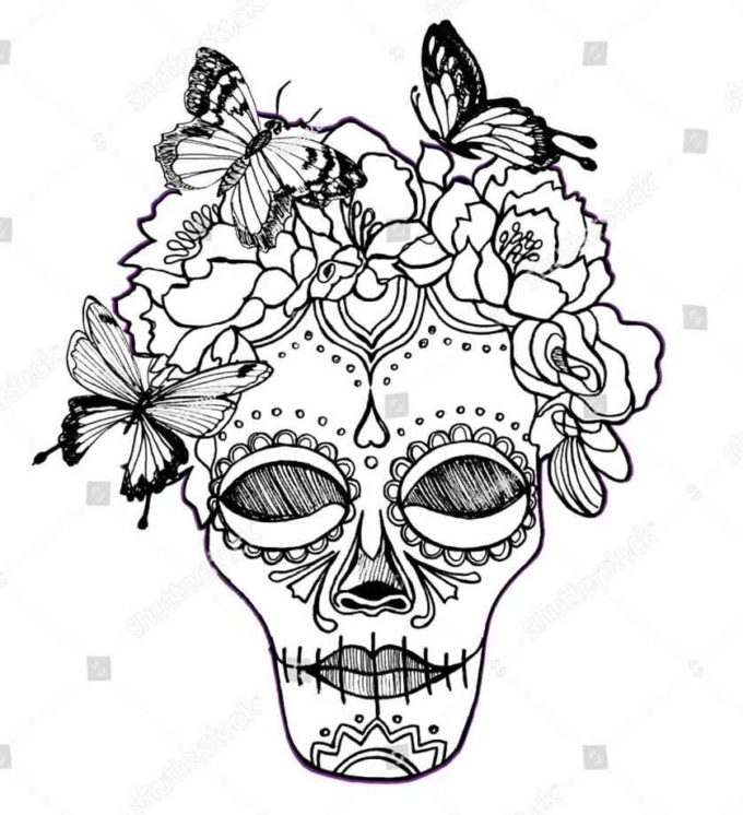 female skull with flowers and butterflies coloring picture