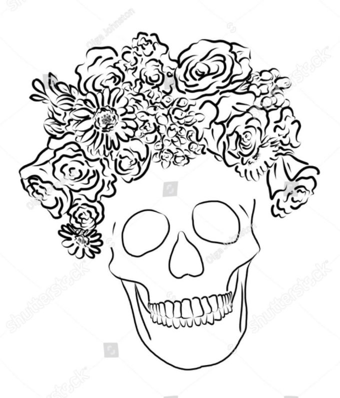 flower bouquet skull coloring picture