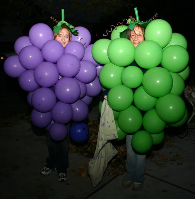 grapes halloween costume with balloons for 2