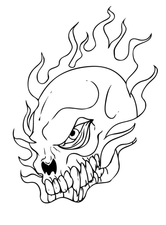 half skull on fire coloring picture