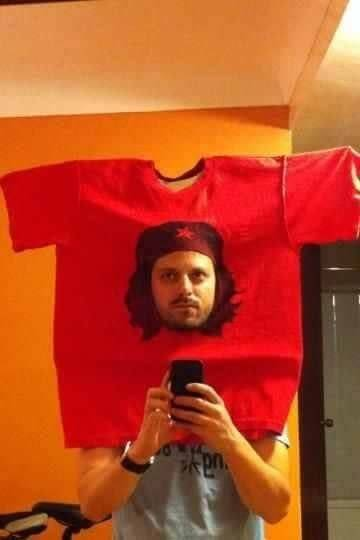 man face in t-shirt cotume idea for halloween