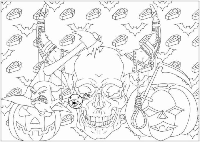 skull halloween coloring picture