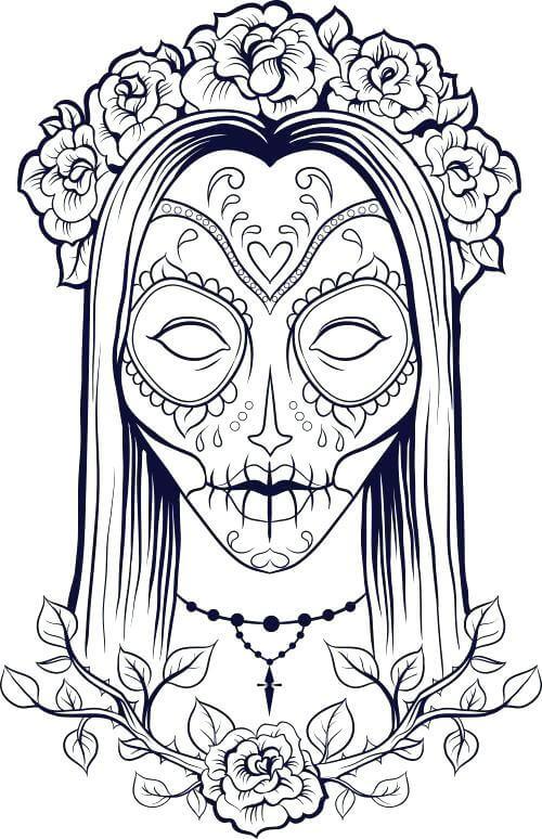 sugar skull coloring picture
