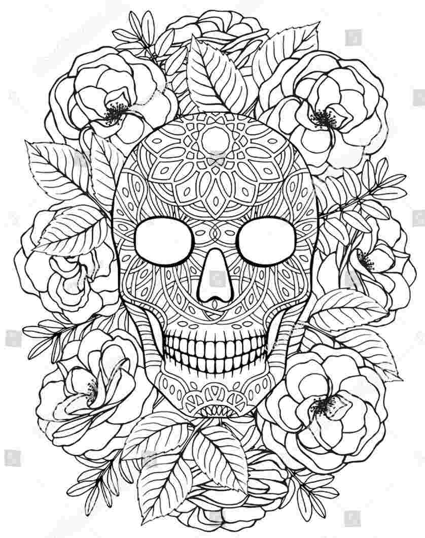 sugar skull floral coloring picture
