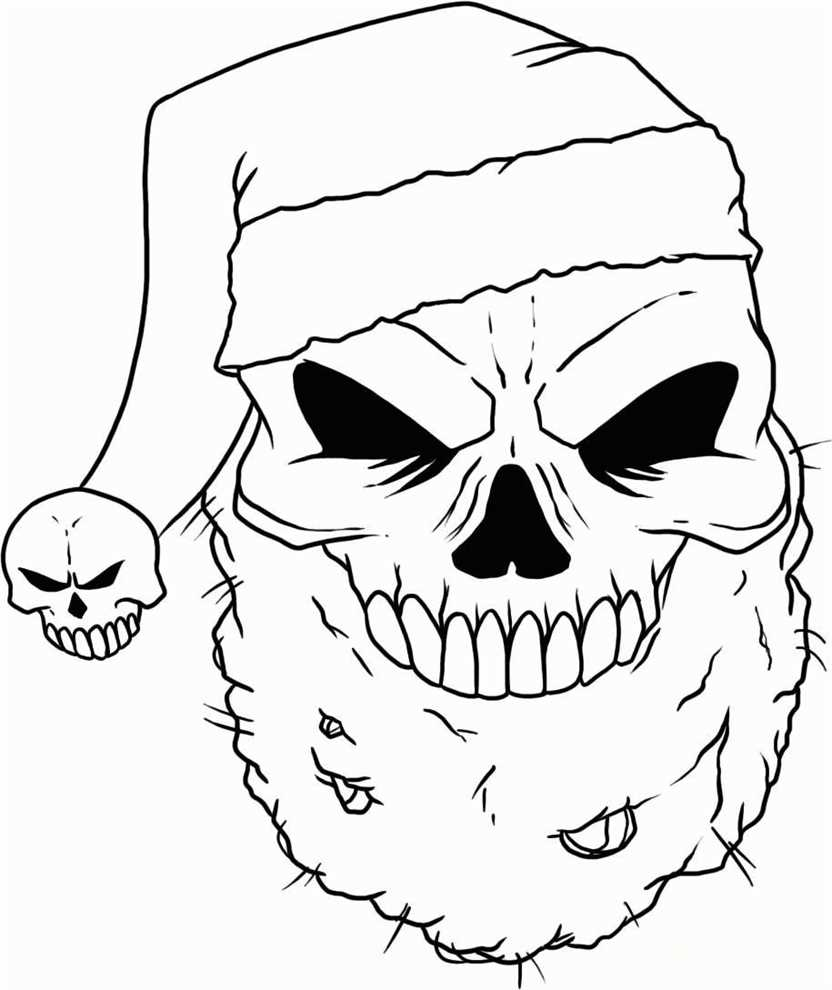 wicked santa skull coloring picture