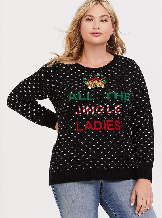 black jingle bells sweater with jeans plus size outfit for christmas
