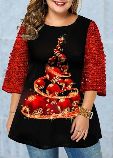 black christmas print sequin t-shirt outfit for plus size