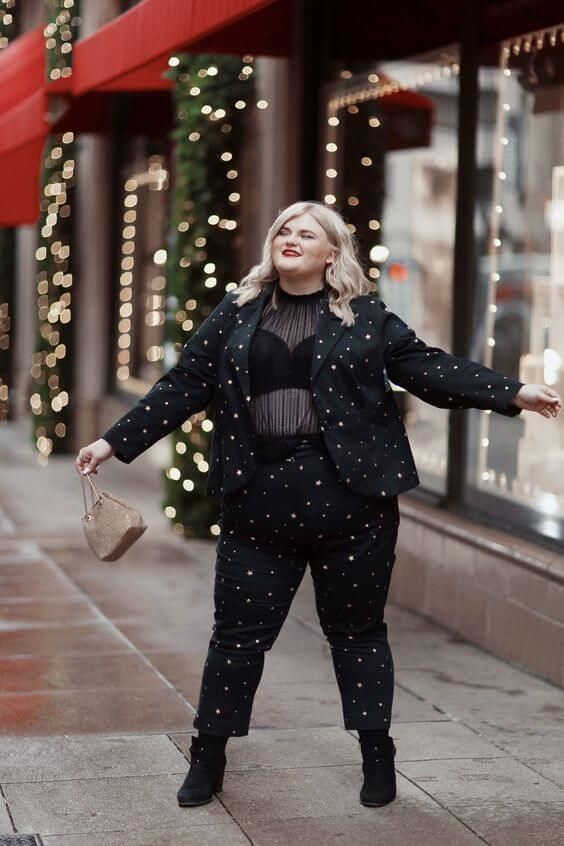 black starry suit with sheer blouse for Christmas street look