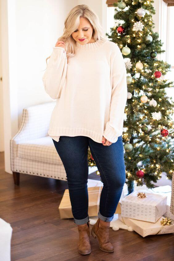 comfy white sweater christmas casual outfit ideas