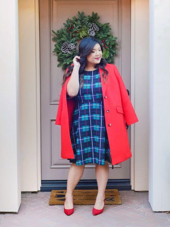 pretty blue dress and a dashing red coat christmas outfit