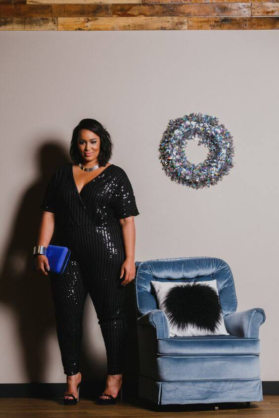 black sequin jumpsuit plus size outfit for Christmas party