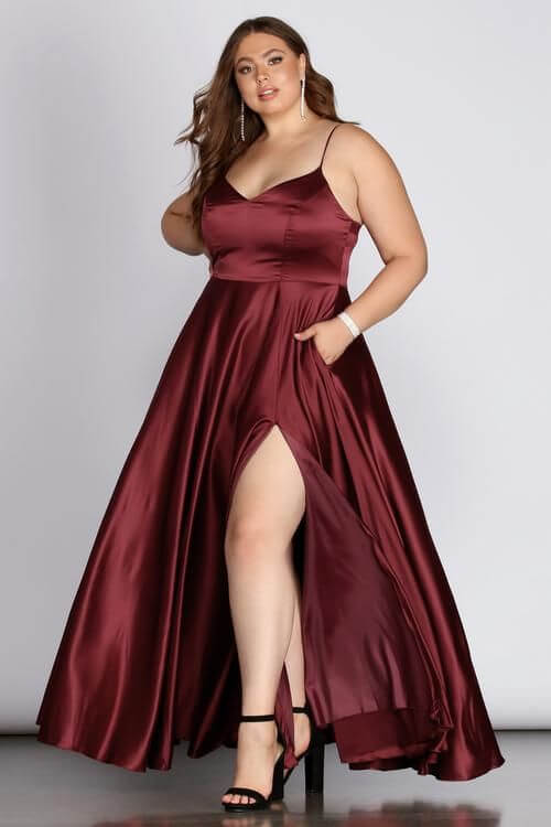 ruby colored slit silk dress for christmas parties