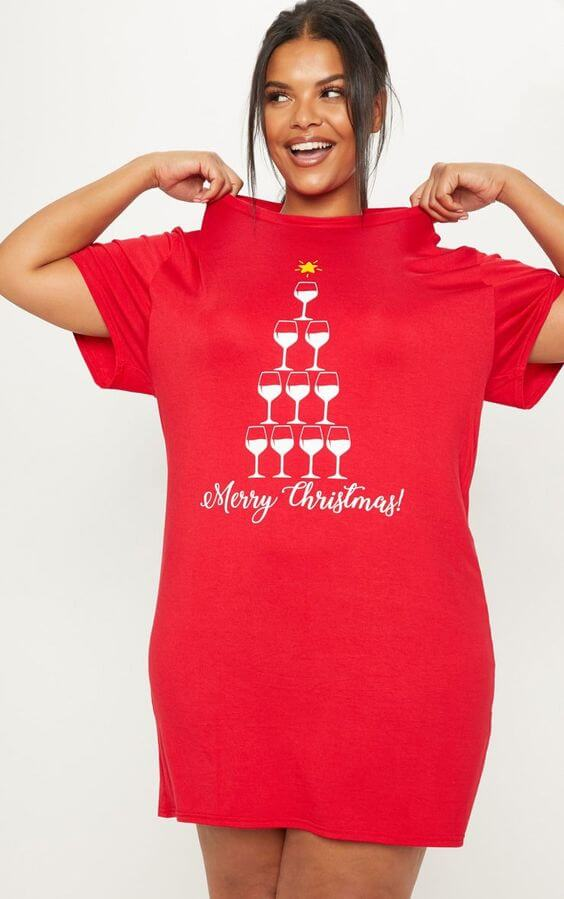plus size red merry Christmas T-shirt dress
