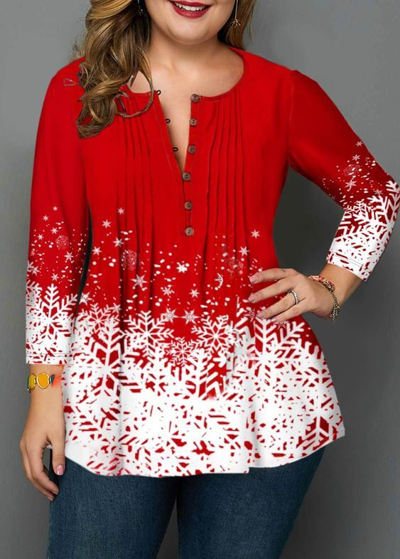 beautiful red with white christmas snowflakes top plus size