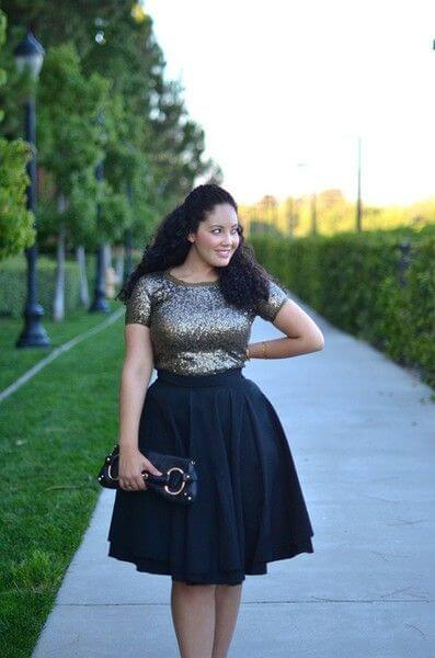 sparkly black skirt outfit for christmas fashion