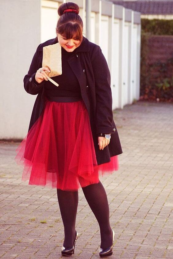 tulle red skirt and black outfit
