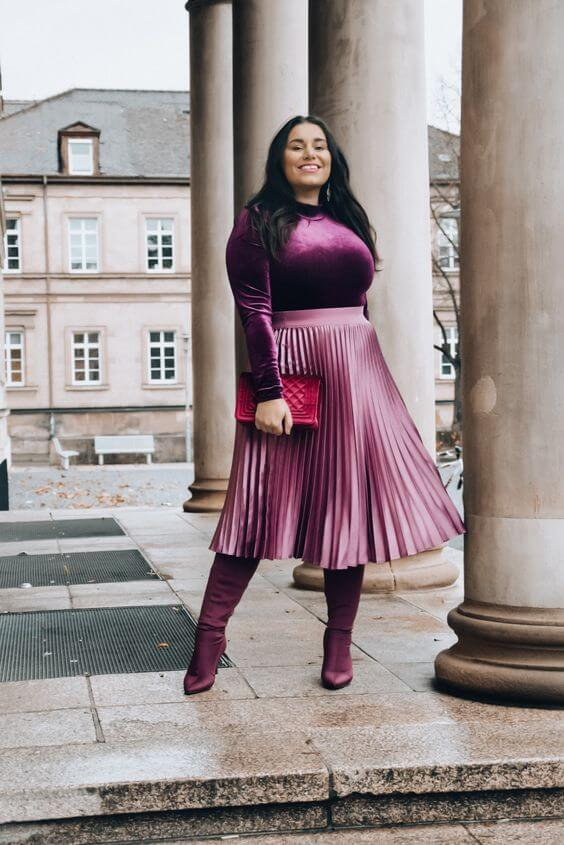 velvet purple blouse with midi skirt christmas outfit ideas for plus size women