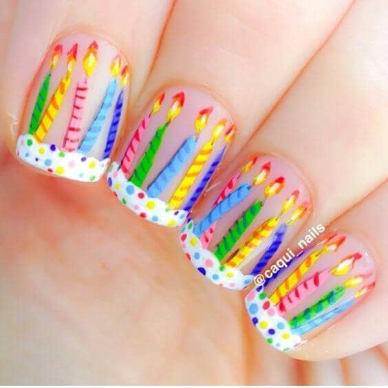 cute birthday candles nails designs