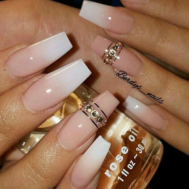 cute sparkling nude birthday manicure